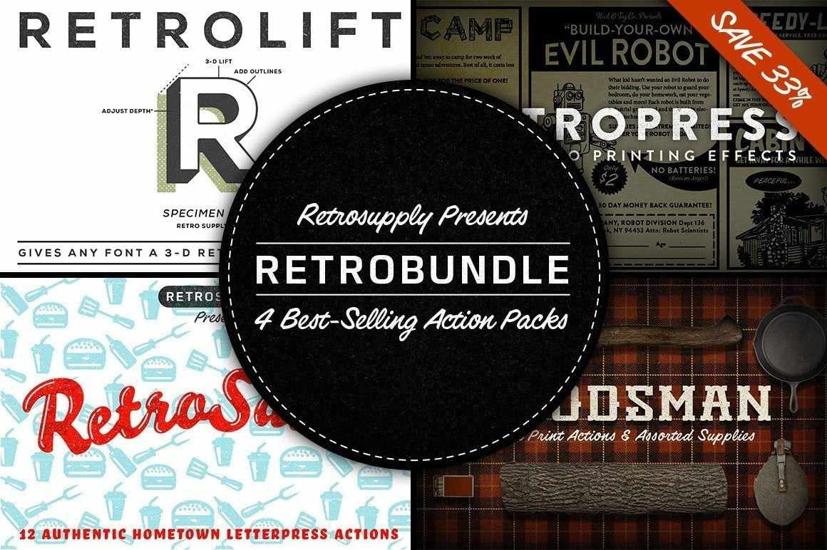 RetroBundle - 4 Best-Selling Actions in 1 Bundle Adobe Photoshop RetroSupply Co