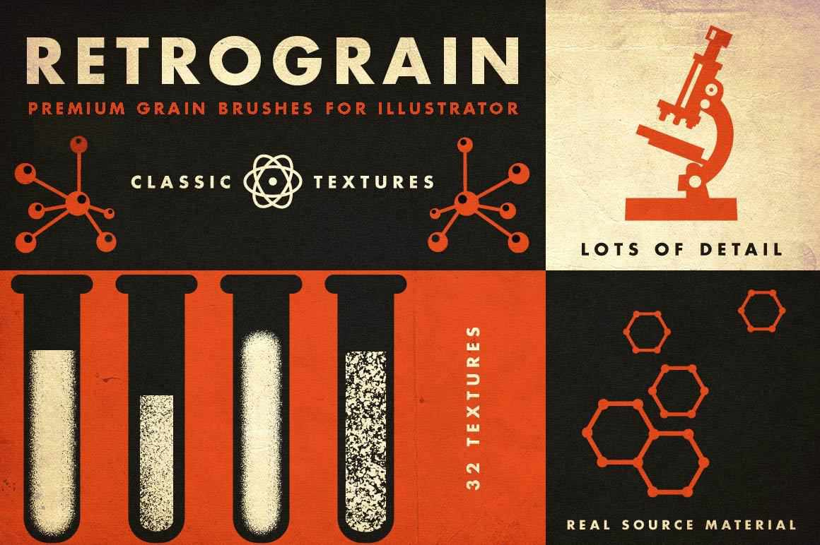 RetroGrain | Grain Brushes for Illustrator Adobe Illustrator RetroSupply Co