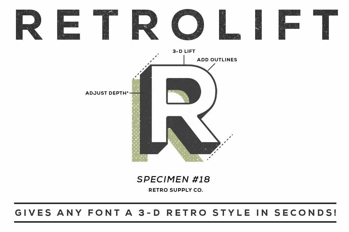 RetroLift 3D Action Adobe Photoshop RetroSupply Co