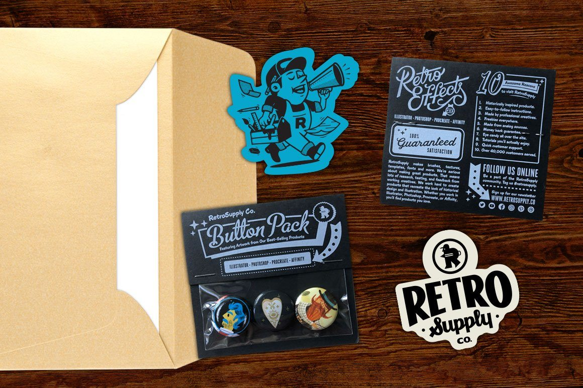 RetroSupply Mystery Artwork Button & Sticker Pack RetroSupply Co.