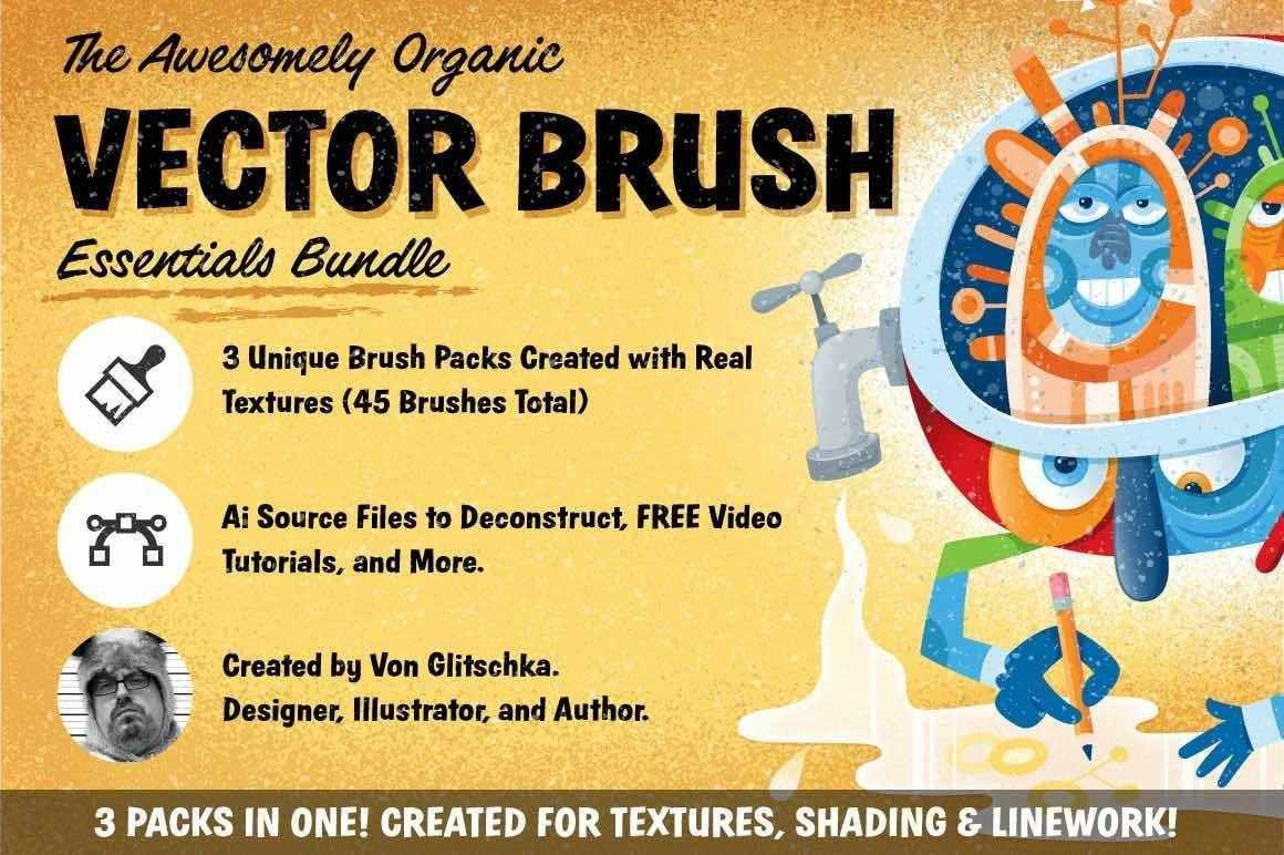 The Awesomely Organic Vector Brush Essential Bundle Adobe Illustrator Glitschka Studios