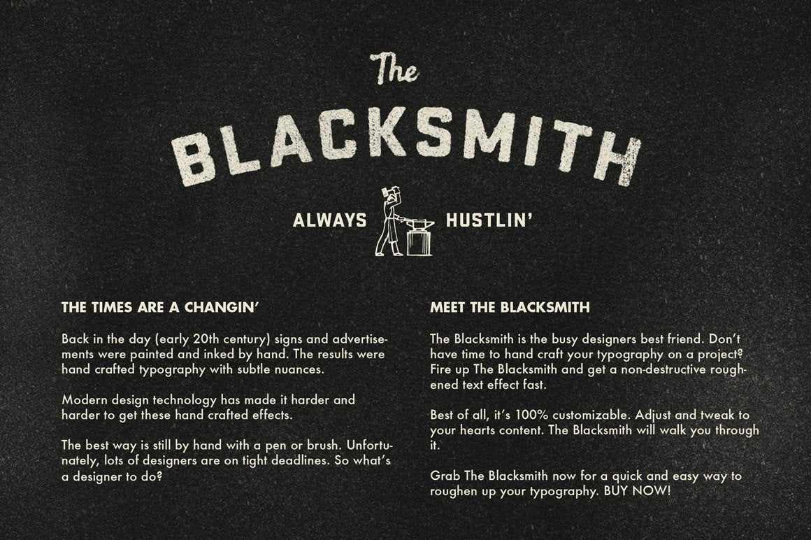 The Blacksmith - Type Roughening Action Actions RetroSupply Co