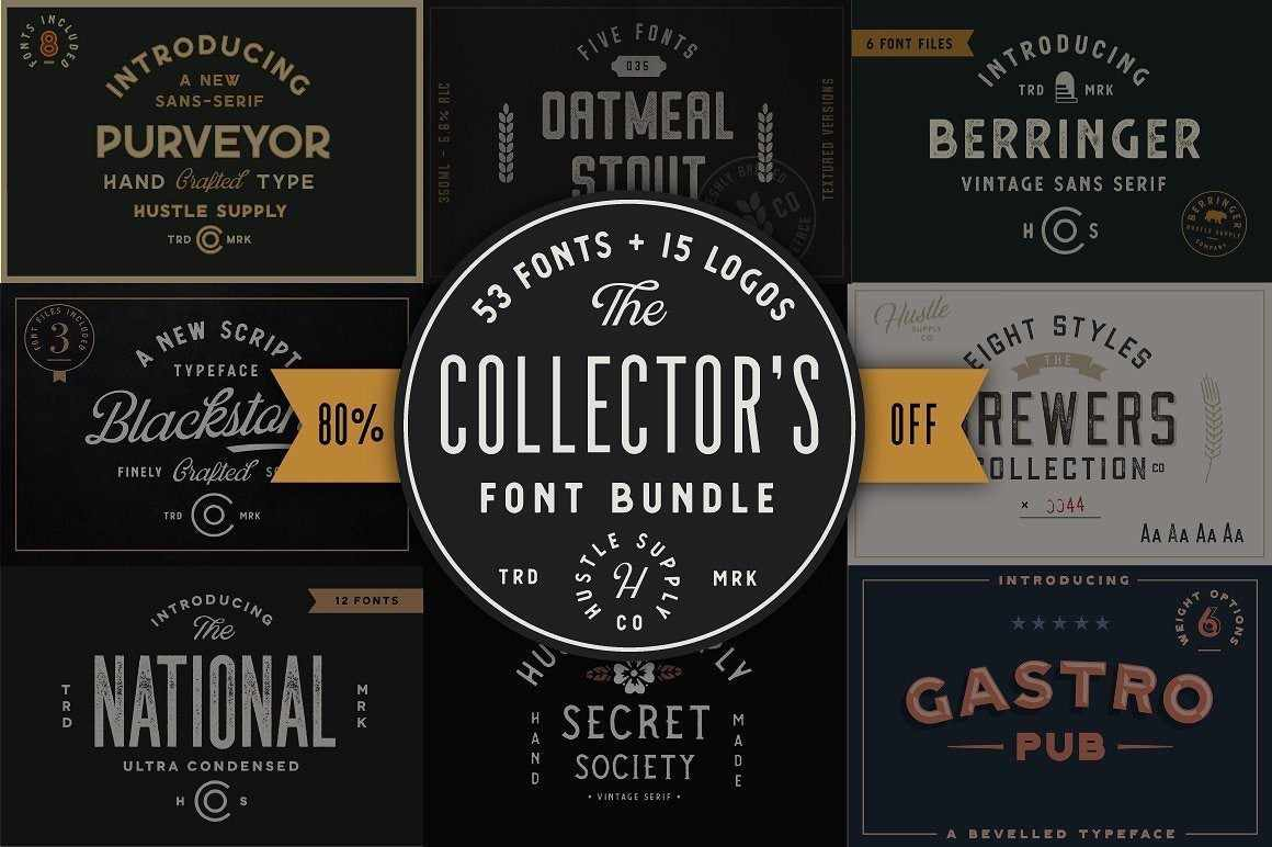 The Collector's Font Bundle by HSCO Fonts RetroSupply Co.