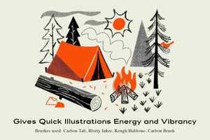 The Mid-Century Procreate Brush Pack by RetroSupply and Brave the Woods