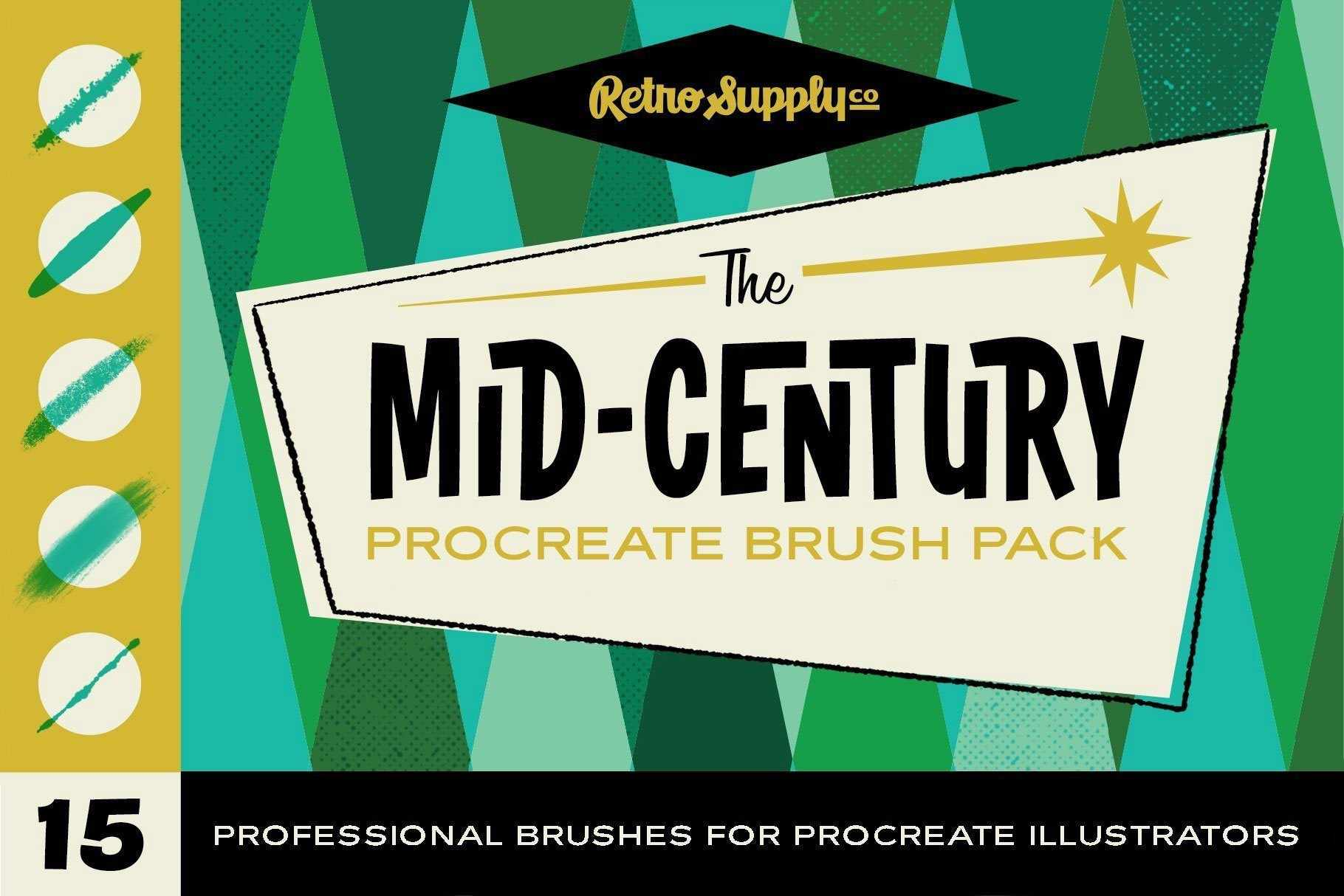 The Mid-Century Procreate Brush Pack for Procreate by RetroSupply and Brave the Woods
