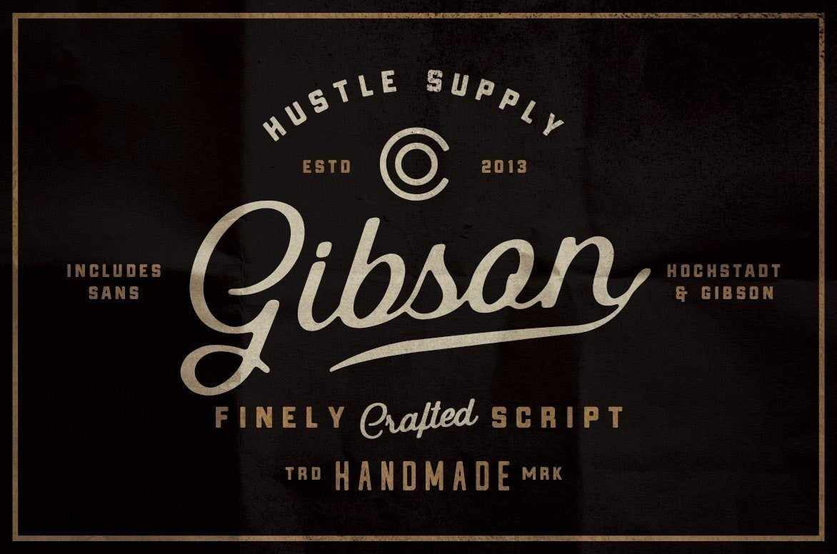 Gibson vintage script font by Hustle Supply Co.