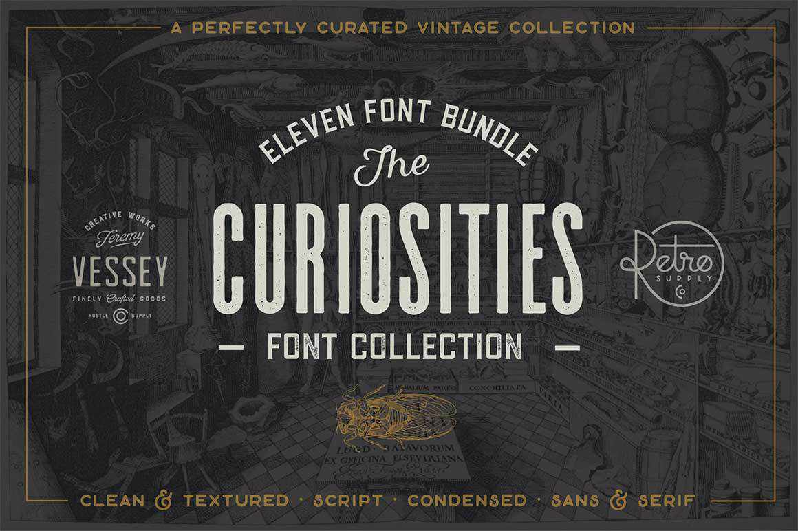 The Curiosities Font Collection Bundle by RetroSupply and Hustle Supply Co.