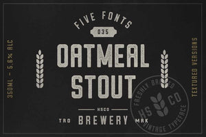 Oatmeal Stout Five Font Family by Hustle Supply Co.