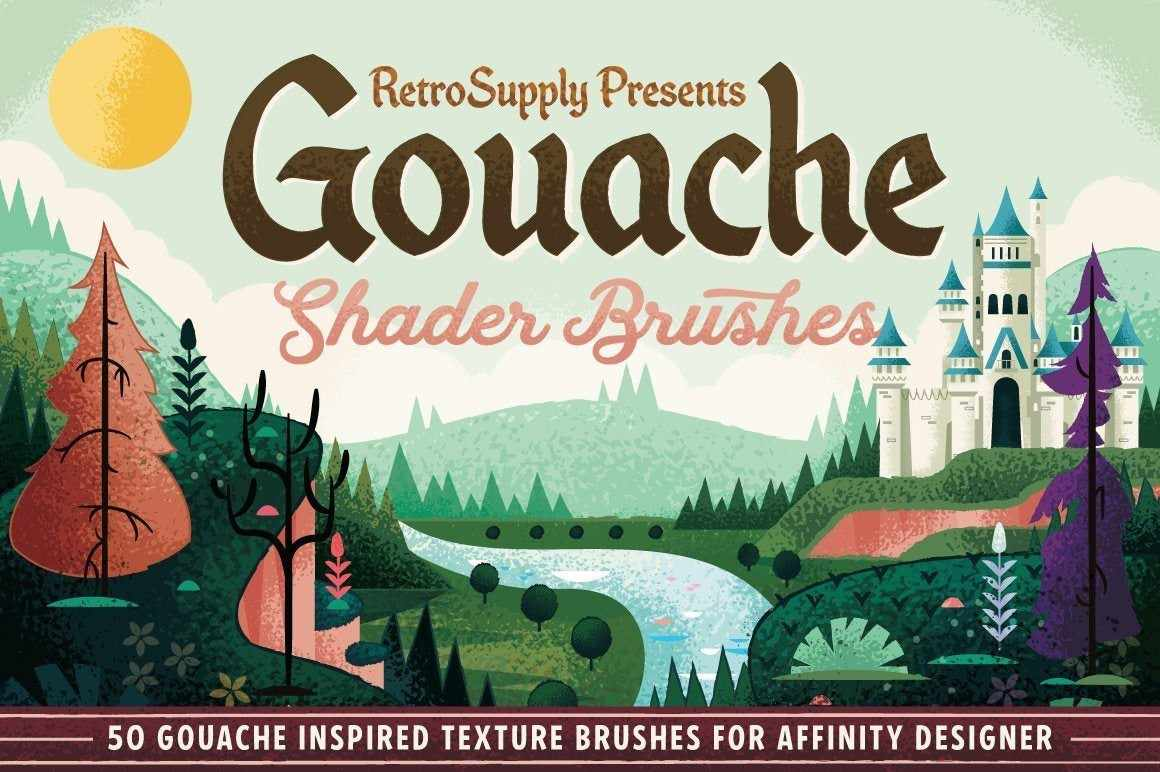 Gouache Shader Brushes for Affinity by RetroSupply