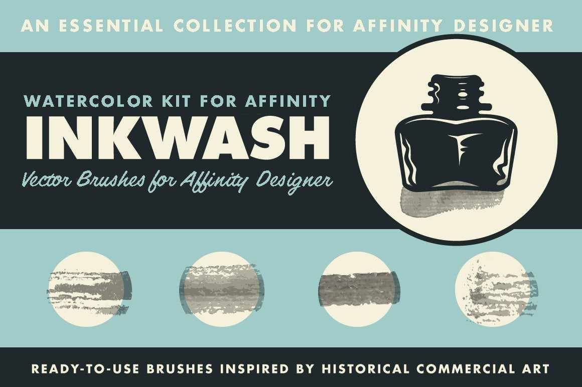 InkWash Ink and Watercolor Brushes for Affinity Designer by RetroSupply