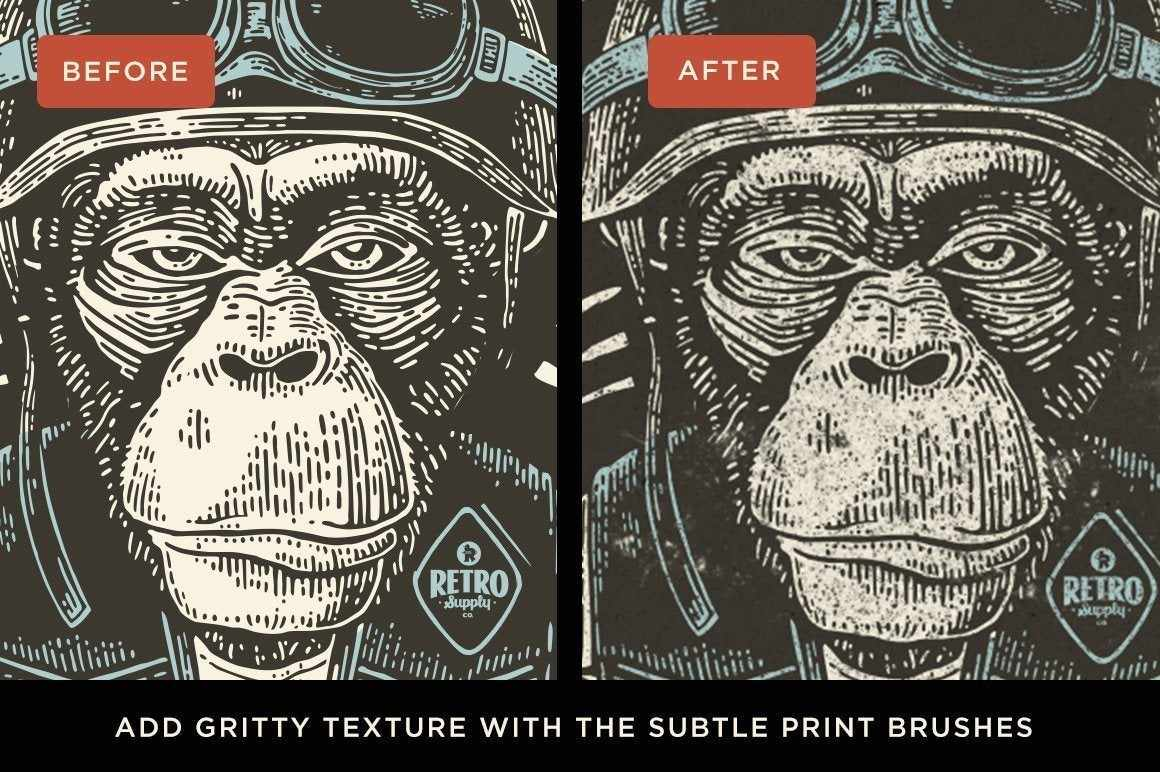Woodcut Brushes for Affinity Designer by RetroSupply - Before and After