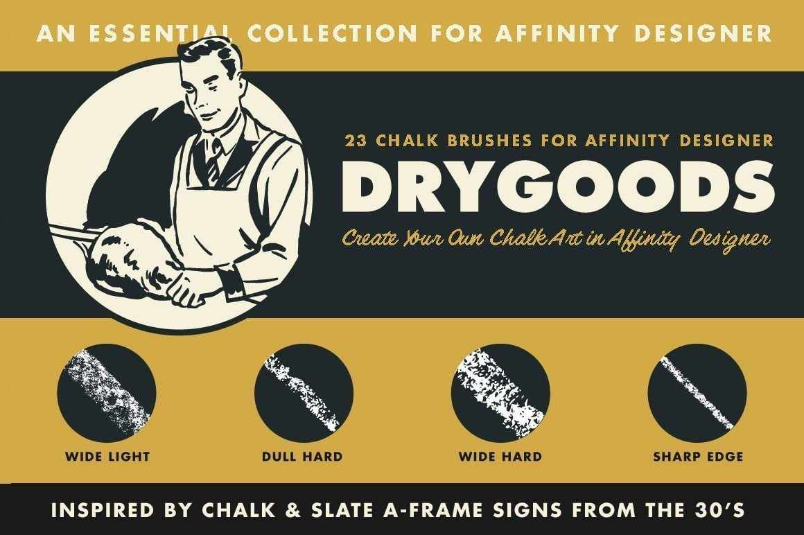 DryGoods Chalk Brushes for Affinity Designer by RetroSupply