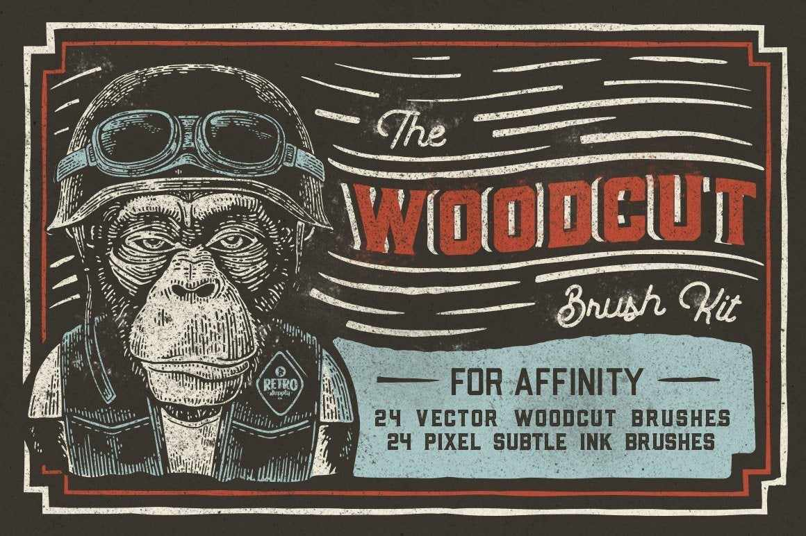 Woodcut Brushes for Affinity Designer by RetroSupply