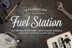 Fuel Station Grease Brushes for Adobe Illustrator by RetroSupply