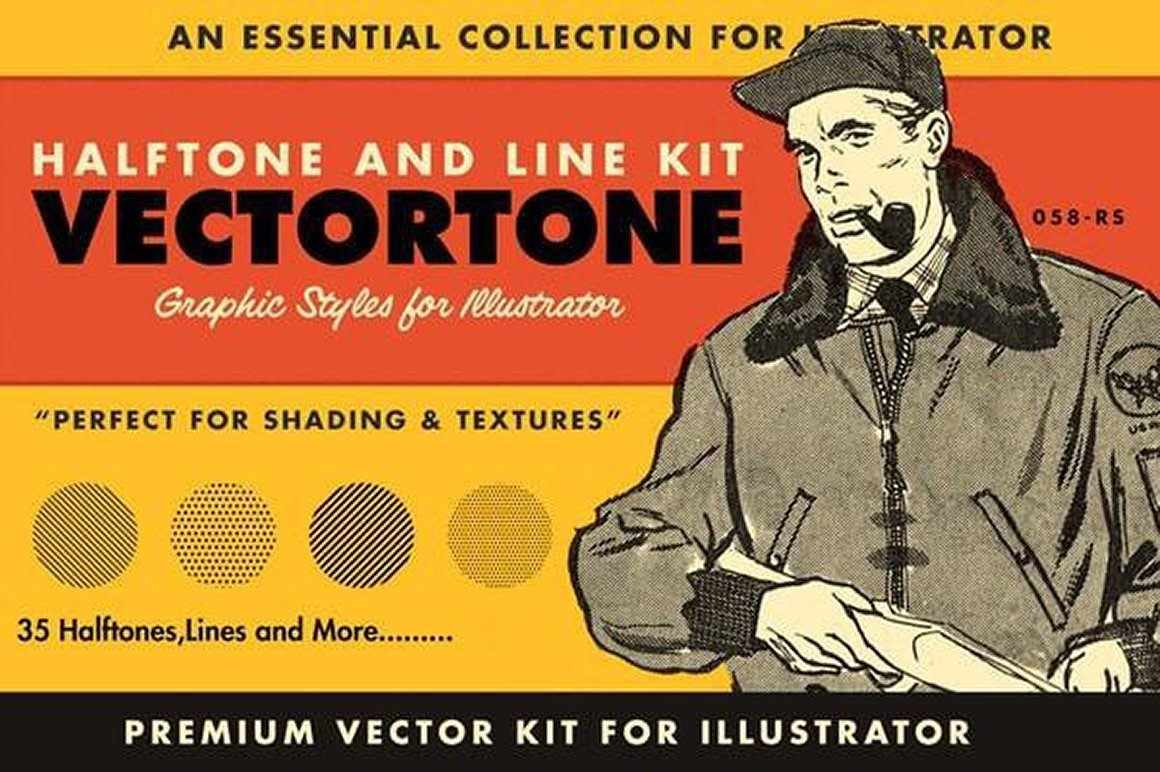 VectorTone Halftone Brushes for Adobe Illustrator by RetroSupply