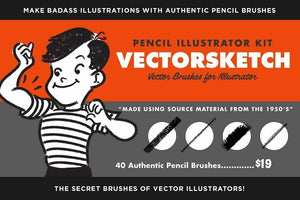 VectorSketch Sketching Brushes for Adobe Illustrator by RetroSupply
