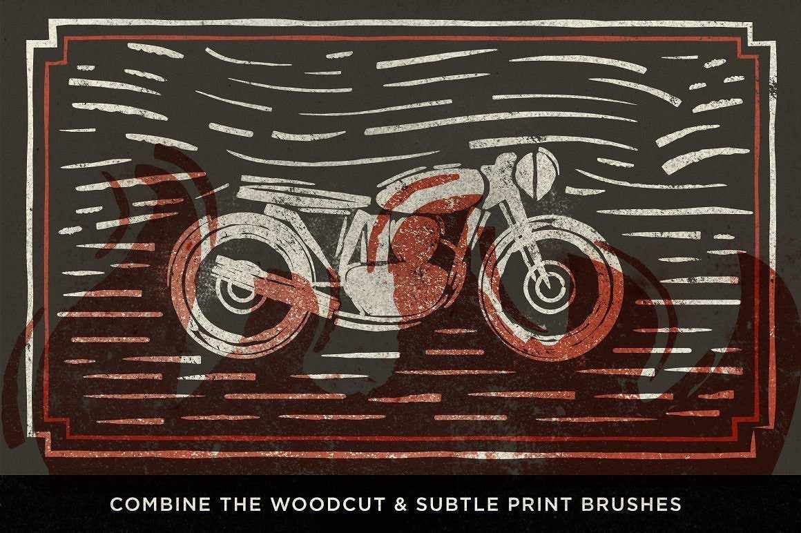 Woodcut Brushes for Adobe Illustrator by RetroSupply
