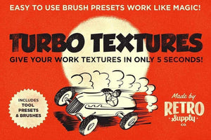 Turbo Textures Texture Brushes for Adobe Photoshop by RetroSupply