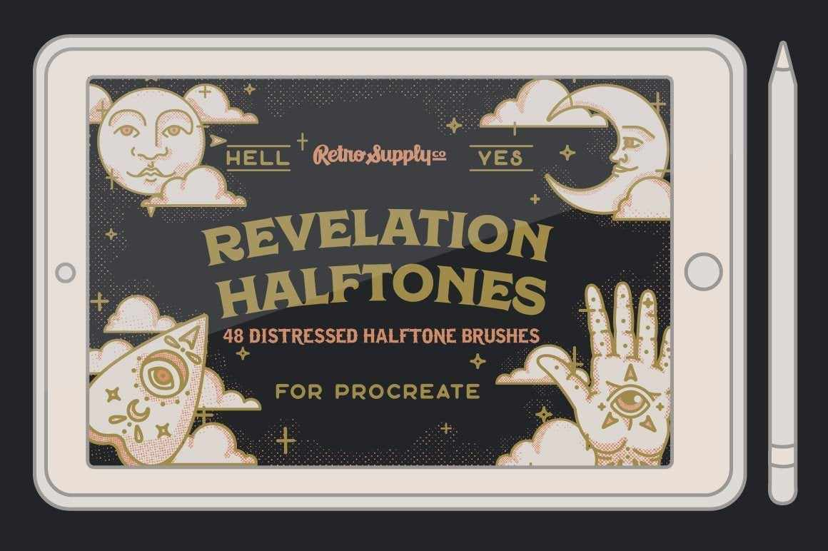 Revelation Halftone Gritty Halftone Brushes for Procreate by RetroSupply