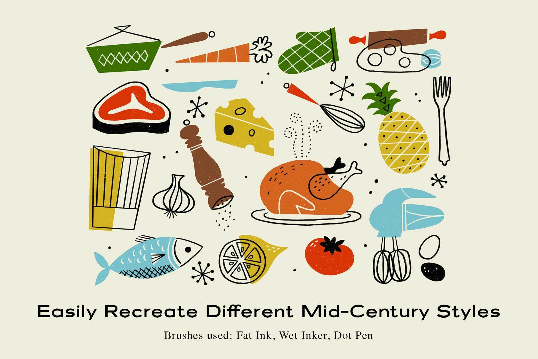 The Mid-Century Brush Pack for Procreate Procreate Brushes RetroSupply Co.
