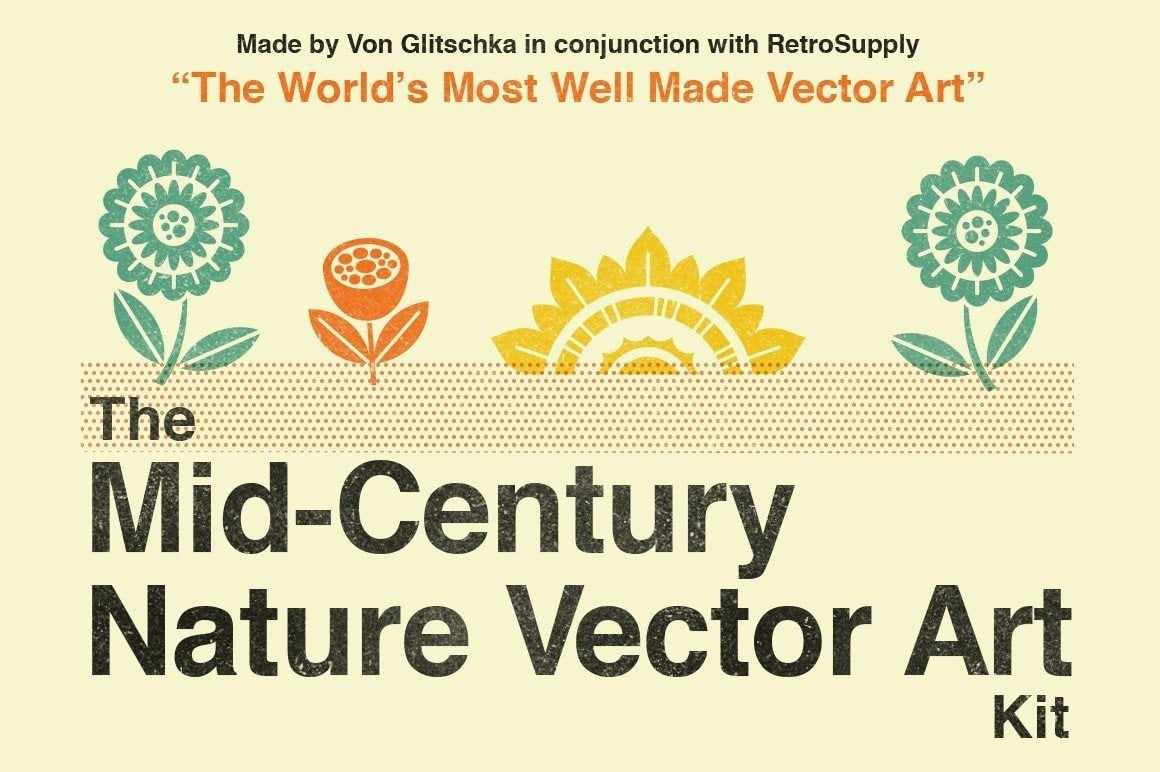The Mid-Century Nature Vector Art Kit Logos and Vector Art RetroSupply Co