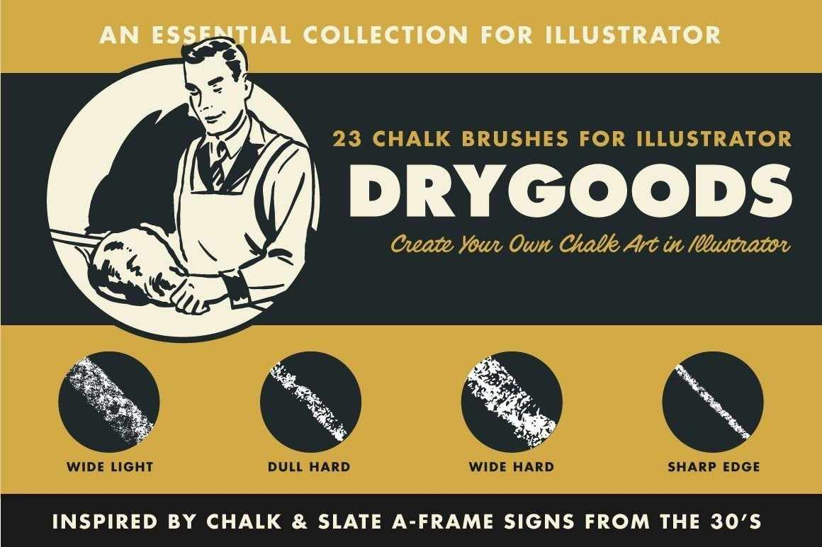 DryGoods Chalk Brushes for Adobe Illustrator by RetroSupply