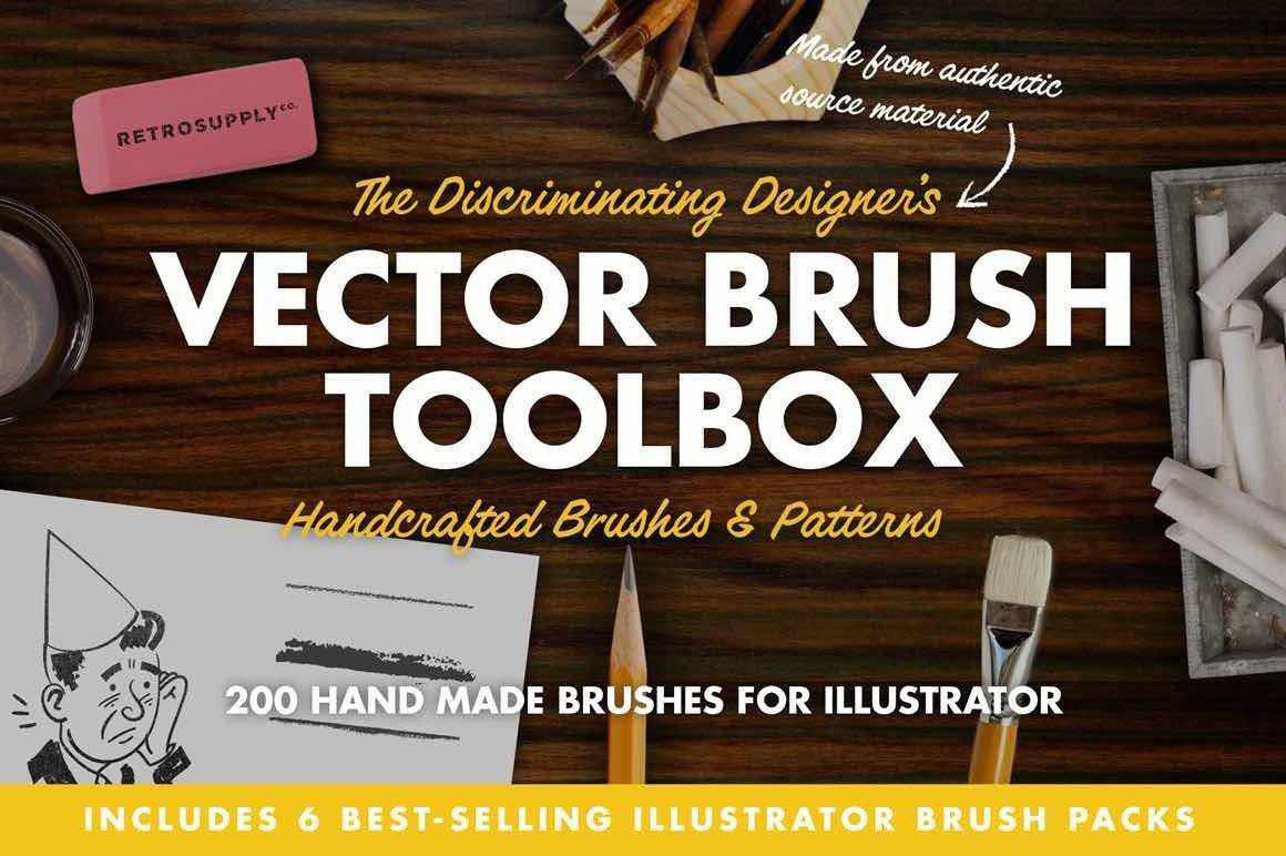 The Vector Brush Toolbox for Adobe Illustrator Adobe Illustrator RetroSupply Co