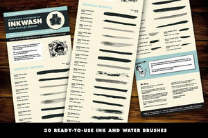 InkWash Ink and Watercolor Brushes for Adobe Illustrator by RetroSupply