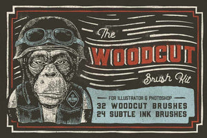 The Woodcut Brush Kit for Adobe Illustrator & Photoshop Adobe Illustrator RetroSupply Co