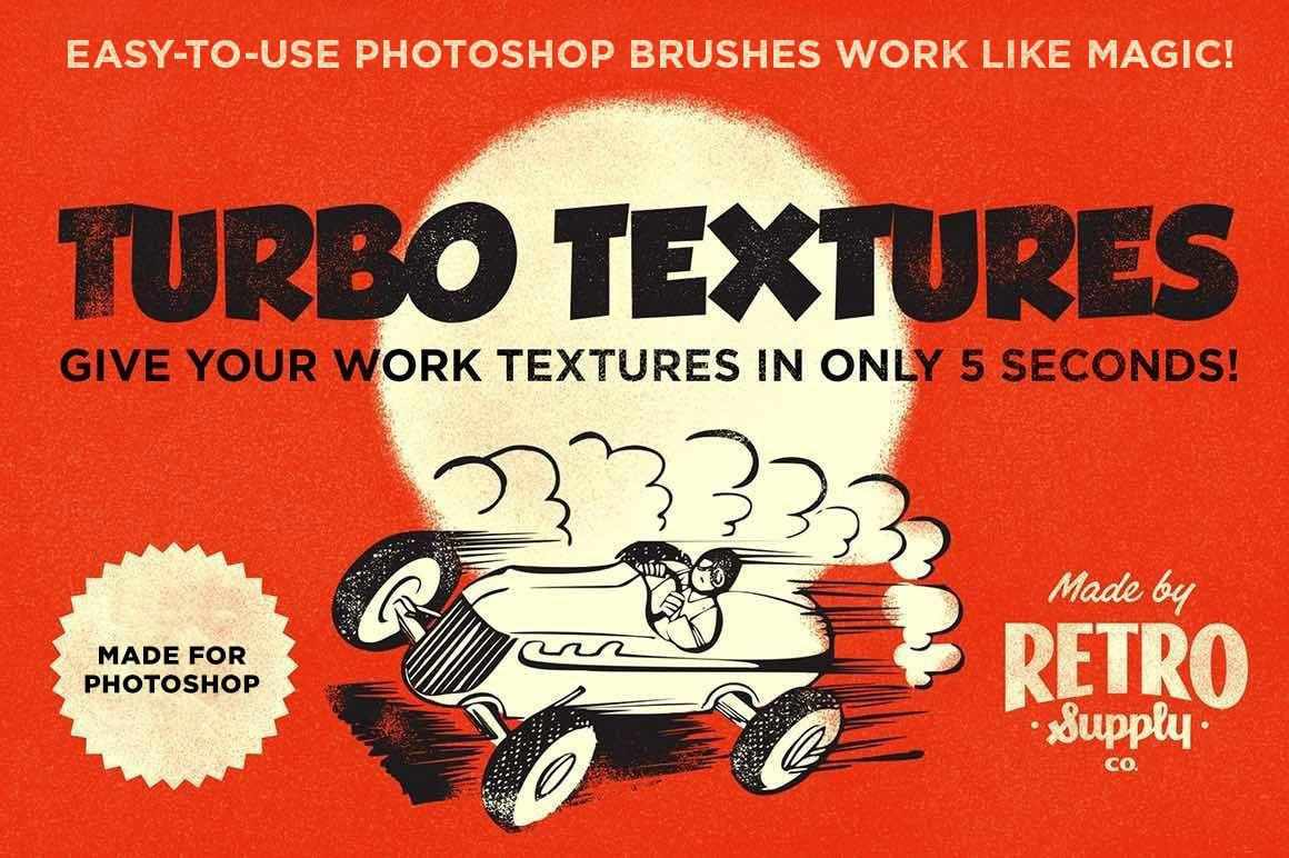 Turbo Textures Brush Kit for Adobe Photoshop Adobe Photoshop RetroSupply Co