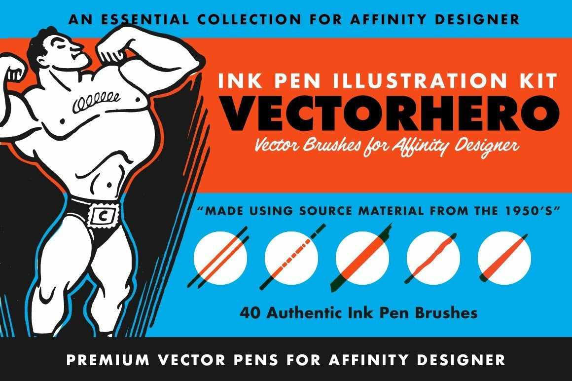 VectorHero | Ink Brush Pack for Affinity Designer Affinity Designer Brushes RetroSupply Co.