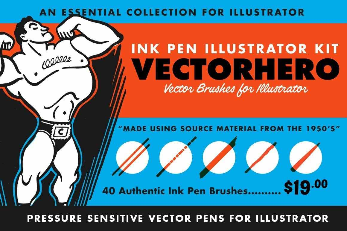 VectorHero | Pressure Sensitive Ink Brush Pack for Adobe Illustrator Adobe Illustrator RetroSupply Co