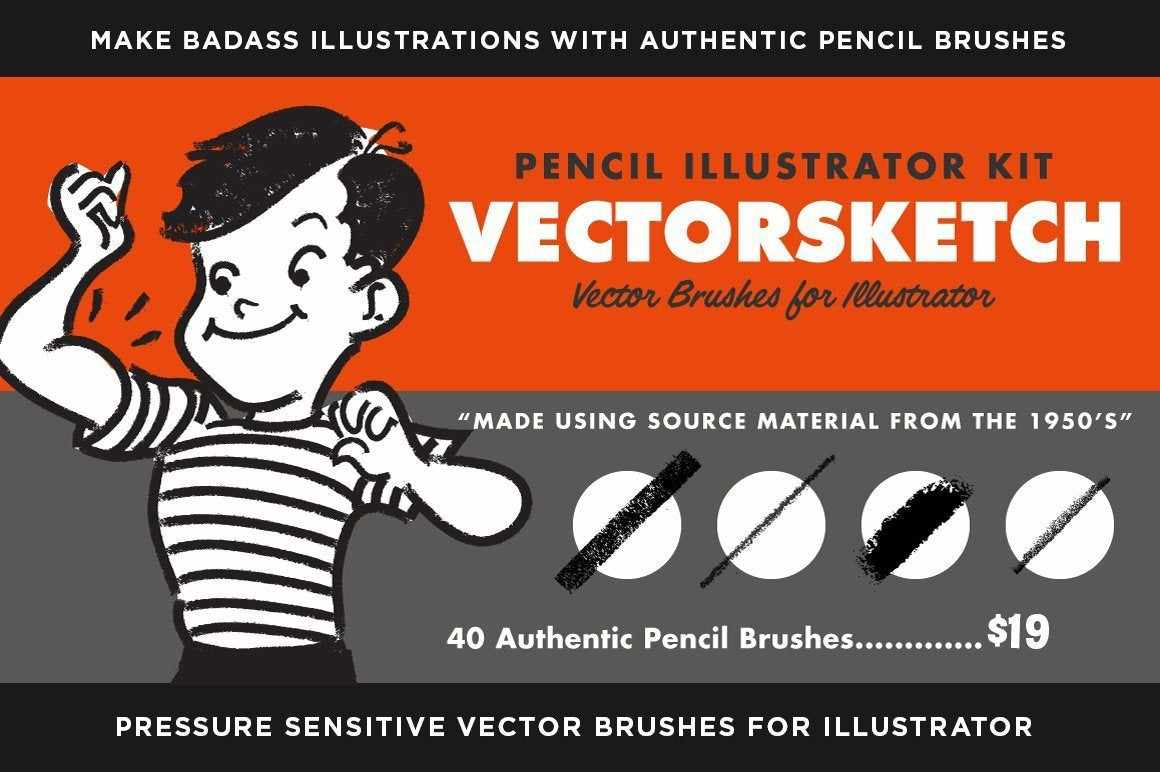 VectorSketch | Charcoal Pencils for Adobe Illustrator Adobe Illustrator RetroSupply Co