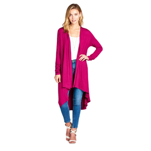 Bamboo Solid Color Open Front Cardigan - PG Ecom Shop