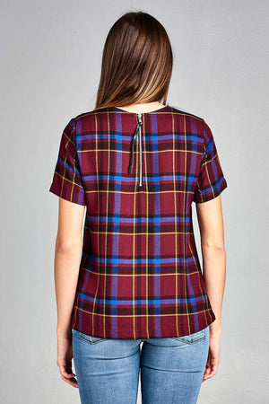 SHORT SLEEVE CHECKERED TOP - PG Ecom Shop