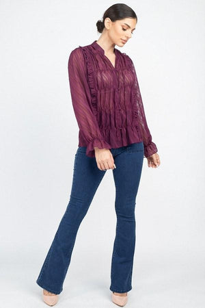 Semi Sheer Ruffle Blouse - PG Ecom Shop