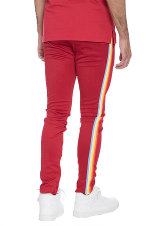 FULL RAINBOW TAPED TRACK PANTS- RED - PG Ecom Shop