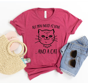 All You Need Is Love And A Cat T-shirt - PG Ecom Shop