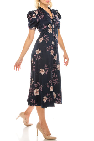 Maggy London Navy Lavender Floral Printed Satin Midi Dress - PG Ecom Shop