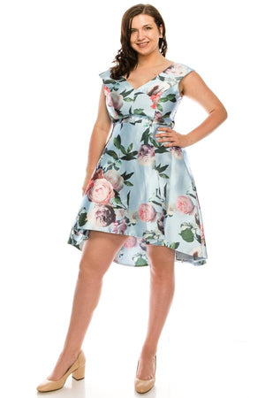 Shelby Nites Sky Peony Printed Fit & Flare Midi Dress - PG Ecom Shop