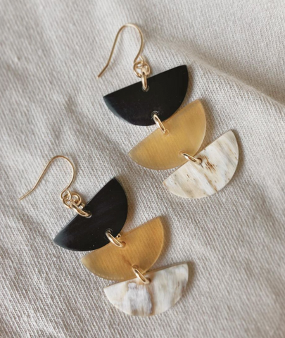 3 half moons strung together for drop earrings