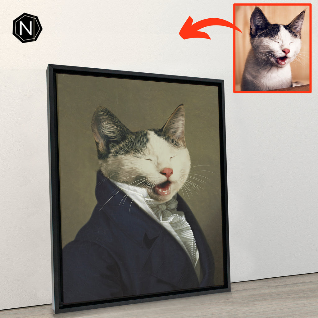 Custom Pet Canvas [Floating Frame] | Sir Ain't Has Old School Manners