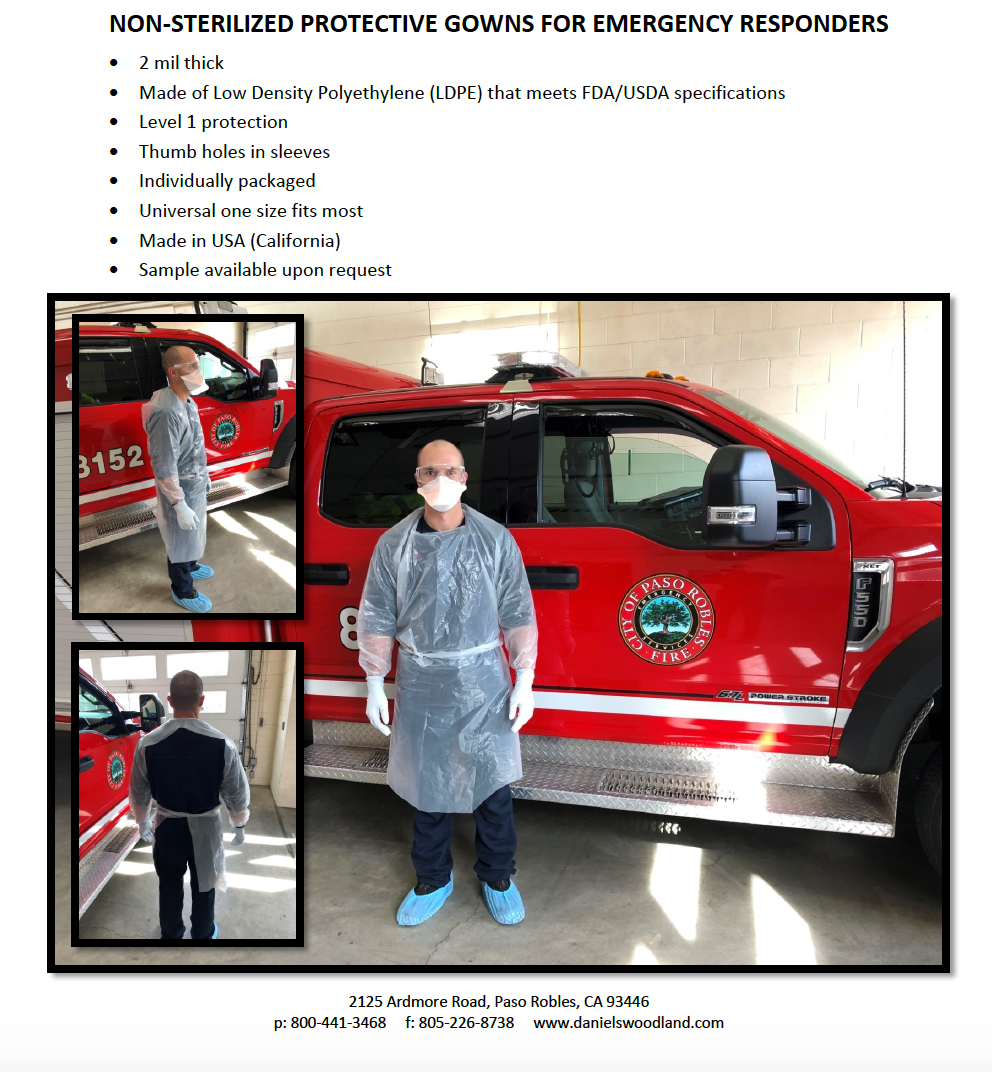 NON-STERILIZED PROTECTIVE GOWNS FOR EMERGENCY RESPONDERS (100pc)
