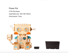 Load image into Gallery viewer, Flower Pot Bot - Wood 3D Puzzle Kit