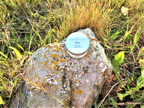 The Suffolk Candle Co sea candle on rock with wild grass background