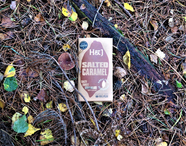 Harris & James salted caramel chocolate pictured in the forest