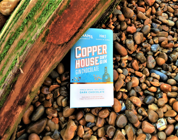 Harris & James Adnams Copper House Gin chocolate on beach setting