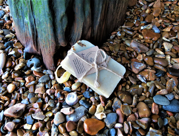 The Guilt Free Soapery soap on beach background