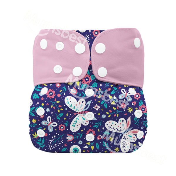 Mumsbest---Pink Butterfly Modern Cloth Nappy