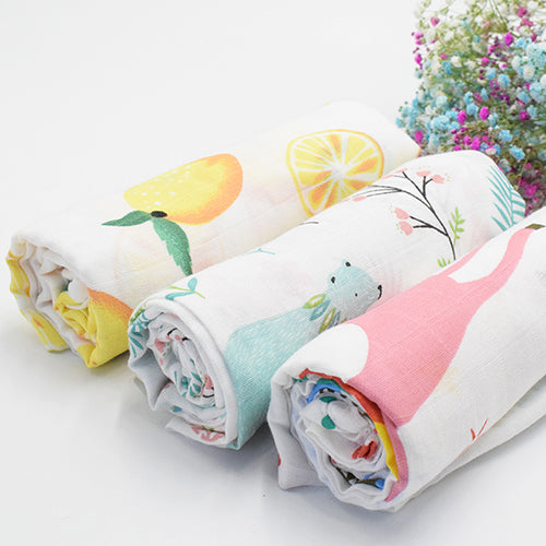 New Arrival 3Pack Baby Muslin Baby Swaddle Blanket Lemon Print, Luxurious, Soft and Silky,100% Cotton 47x40inch (1pack), Baby boy Nursing Cover, wrap, Burp Cloth